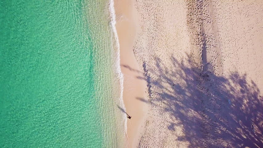 Aerial footage of seven mile beach in the tropical paradise of the cayman islands in the caribbean sea