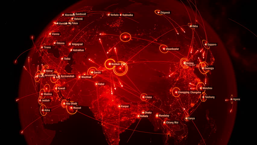 Global Communications all over the World. Arrows fly between Cities. Flight Paths. The High-Resolution Texture of City Lights. City Names in English. 4k. Red Version | Shutterstock HD Video #33031615
