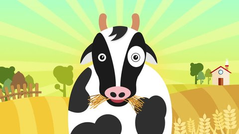 Cartoon cow grazing on meadow loop. cute   cow eating grass in the farm at sunset time. animals and wildlife background. agriculture and farming concept. Flat animation for children full hd and 4k.