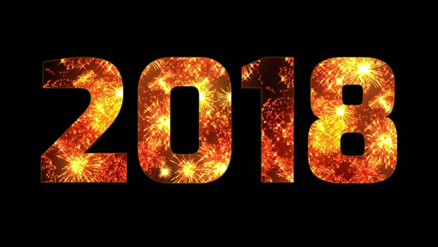 beautiful yellow orange red fireworks through the inscription 2018. Composition for the new 2018 year. Bright fireworks, amazing light show. Many pyrotechnic volleys.