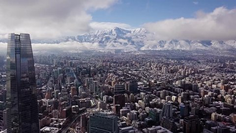 Beautiful aerial view of Santiago of Chile after the historical snowfall occurred in June of 2017