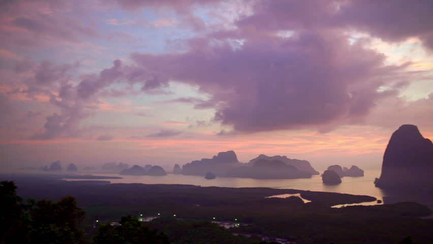 Panoramic landscape of picturesque Phang Nga Bay in sunrise time, Andaman sea, Thailand.