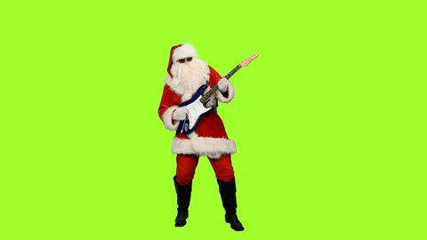 Santa in sunglasses playing guitar at christmas party on green background, Chroma key, 4k footage