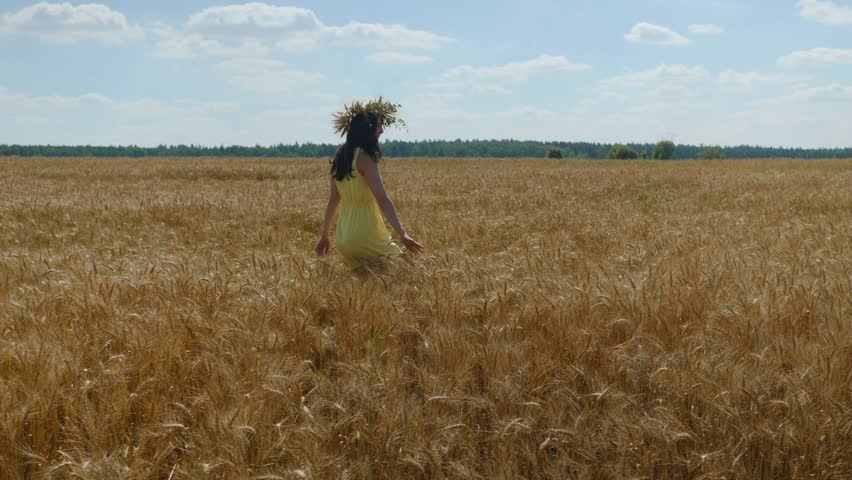Woman in flower diadem and yellow dress spins around on golden wheat field at sunny day