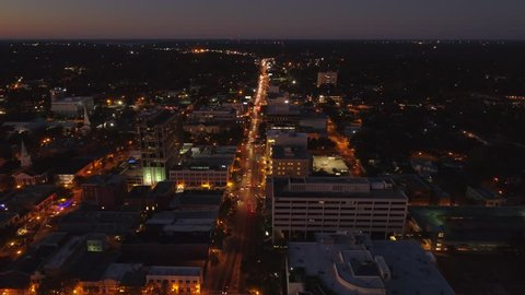 Aerial night shot Monroe Street Tallahassee FL