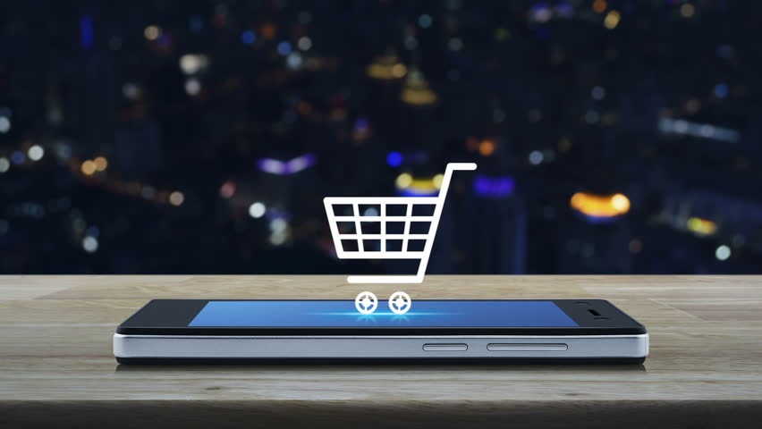 Shopping cart icon on modern smart phone screen on wooden table over blur city tower background, Shop online concept | Shutterstock HD Video #33106063