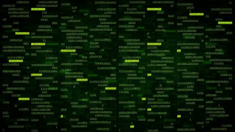 Binary data code animation showing warning messages in a virtual environment. Security breach concept, warning texts in a virtual environment.  System hacked. Virus and malware detected. Green.