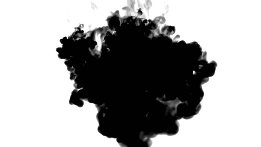 black ink flows on white moving in slow motion, ink or smoke inject . Black tint spray in water for Inky or smoky background or ink effects. Use luma matte like alpha mask or alpha channel