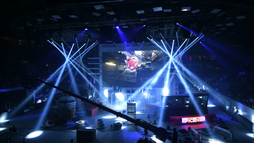 SAINT PETERSBURG, RUSSIA - OCTOBER 28 2017: EPICENTER Counter Strike: Global Offensive cyber sport event. Presenting teams on a big main screen. Amazing light effects on a stage.
