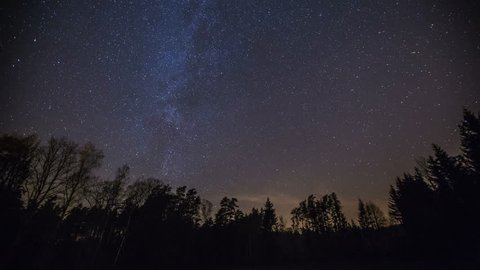 Starry nigh sky 4k timelapse with zoom in effect. 3840x2160, 24fps