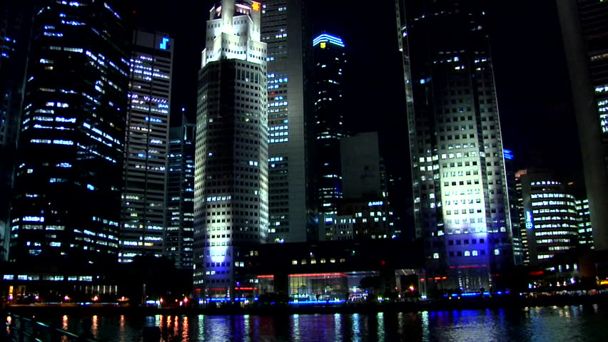 High Rising Buildings of Boat Quay at Night in Singapore