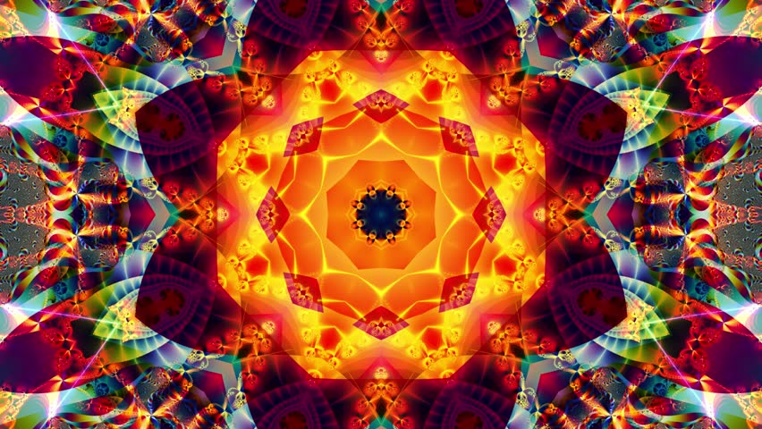 Colored kaleidoscope sequence patterns. Abstract multicolored motion graphics background. Or for yoga, clubs, shows, mandala, fractal animation. Beautiful bright ornament. Seamless loop.