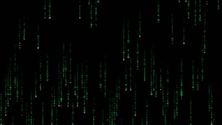 Matrix in English Characters combine with Japan Characters, Green Chareacters on Black Background, Human Computer Interaction. slow version. | Shutterstock HD Video #33171250