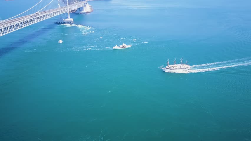 Boats Viewing Swirling Naruto Strait Currents Aerial, Japan
