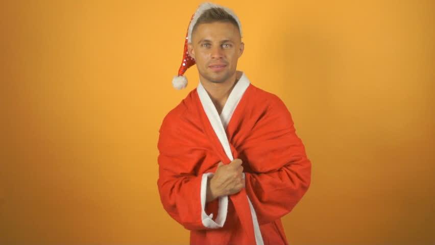 Sexy stripper. Santa and Christmas.