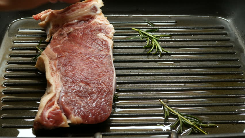 4k, put steak in a grill pan with rosemary
