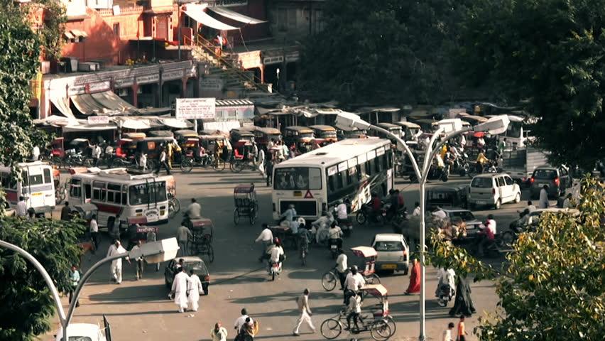 JAIPUR, INDIA - CIRCA FEB 2012: People commuting in Jaipur ( Rajasthan , India ) February 2012    Shutterstock HD Video #3320810