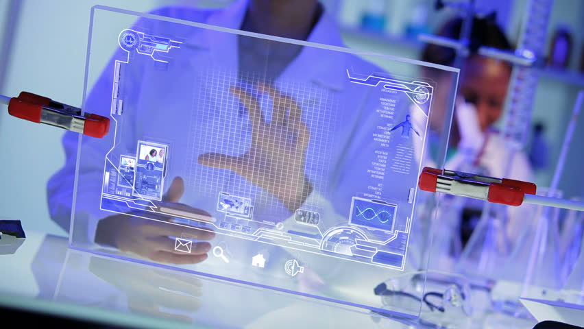 3D images CG touch screen technology digital display of human DNA structure for future medical research used by multi ethnic doctors in modern laboratory