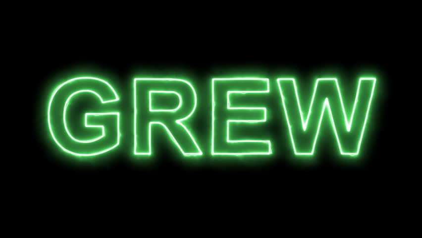 Neon flickering green text GREW in the haze. Alpha channel Premultiplied - Matted with color black | Shutterstock HD Video #33245080