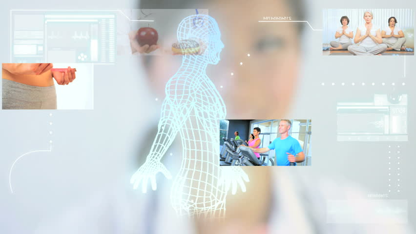 Montage images digital touch screen bionic man and medical research with people following healthy lifestyle | Shutterstock HD Video #3326060