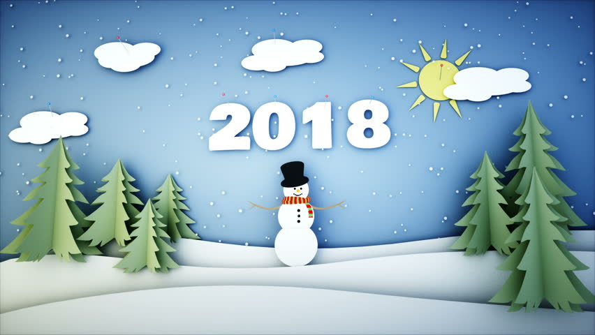Snowman Paper flat animation. 2018 Happy new year . Snowfall. Realistic 4K animation.   Shutterstock HD Video #33268120