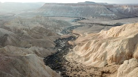 Aerial view of a beautiful valley in the Israeli desert (Negev)
