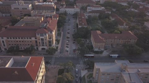 University of Texas and Austin skyline drone