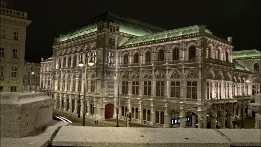 Vienna Time Lapse, Opera, night, tracking shot