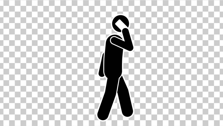 Black Stick Figure Quickly Walk with Mobile. Alpha Matte