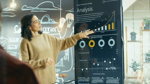 Female Project Manager Holds Meeting Shows Statistical Graphs and Charts on the Interactive Whiteboard Touchscreen Device. She Works in the Stylish Creative Agency. Shot on RED EPIC-W 8K Helium Camera
