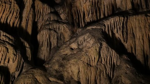 Beautiful cave formations of stalactites and stalagmites 3840X2160 UltraHD footage - Decoration deep inside underground  cavern 2160p 30fps UHD video