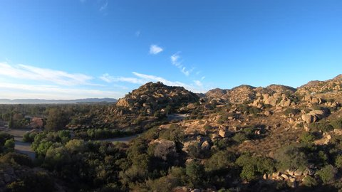 Aerial morning view of Stoney Point in the West San Fernando Valley area of Los Angeles, California.