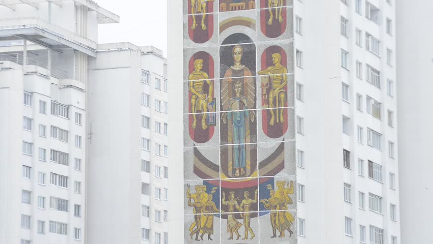 MINSK, BELARUS - 13 JANUARY 2013 - Old Soviet Art on the wall of apartment building in Belarus - the last dictatorship in Europe, 13 January 2013. Lukashenko is the Belarus' only president from 1994.