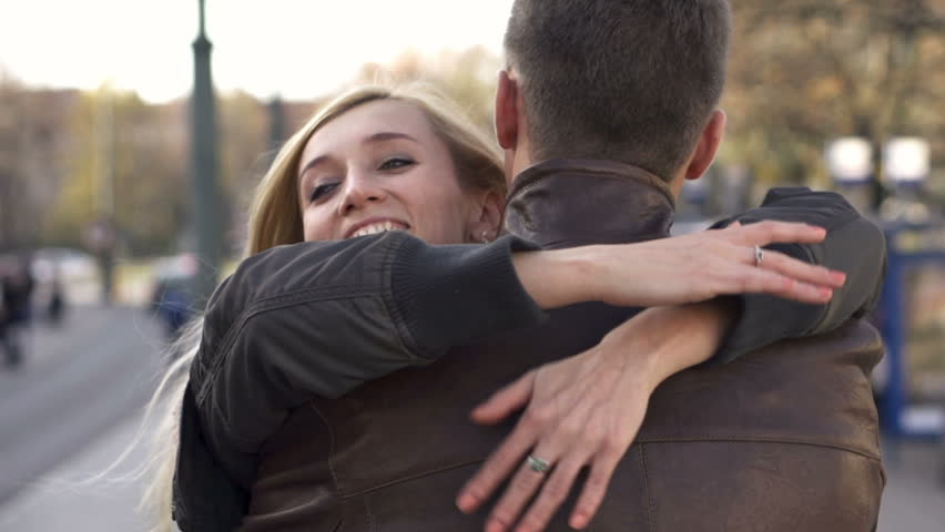 Happy couple hugging in the city, slow motion, shot at 240fps    Shutterstock HD Video #3342461