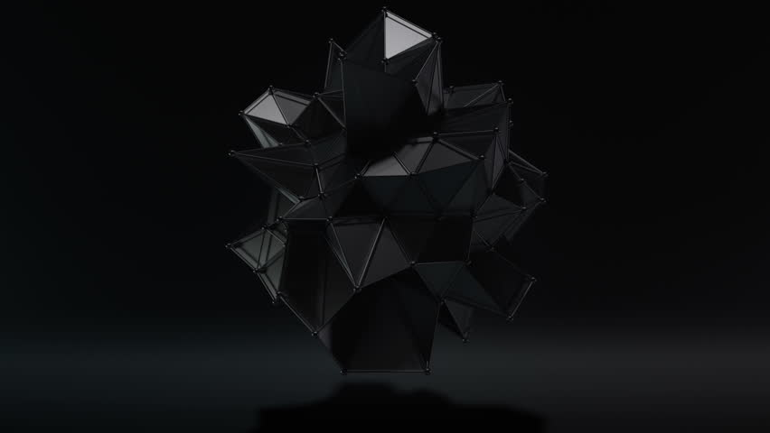 Futuristic dark style hi-tech polygon matte black metallic black form seamless motion background. High quality 3D rendered animation with depth of field, motion blur and supersampling.
