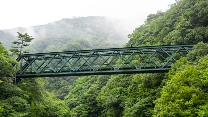 Tilting Time Lapse of a train passing a steel bridge in the woods at Hakone Tozan Line, Hakone, Japan