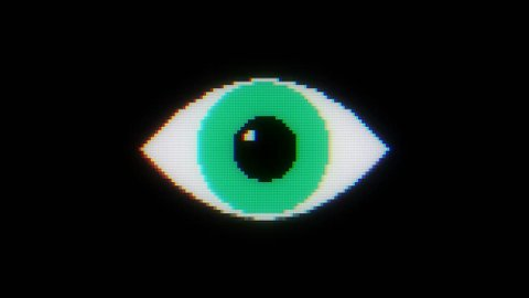 green pixel eye symbol on glitch lcd led screen display background animation seamless loop ... New quality universal close up vintage dynamic animated colorful joyful cool video footage