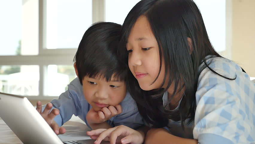 b02f957d95b5 Cute Asian Children Lying in Stock Footage Video (100% Royalty-free ...