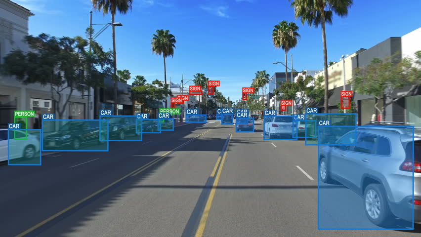 Autonomous or driverless car computer vision. Object detection system creates boxes to recognize objects in the streets. Artificial intelligence technology. Futuristic. More options in my portfolio. | Shutterstock HD Video #33521560