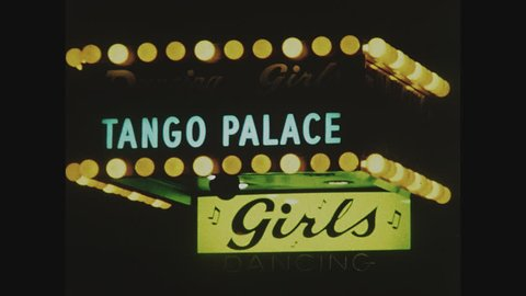 NEW YORK, 1971, Tango Palace, Girls, flashing lights, Times Square at night