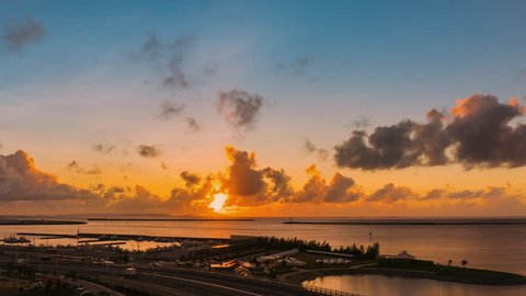 4k Time Lapse Landscape view of beautiful sky and clouds sunset in Okinawa, Japan