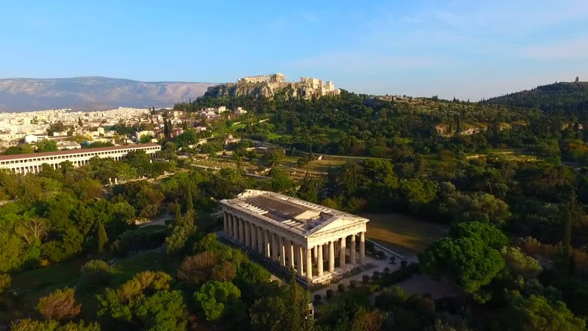 Aerial bird's eye view video taken by drone of iconic Ancient Agora, Athens historic center, Attica, Greece