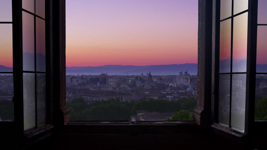 Rome city at sunrise timelapse view through window | Shutterstock HD Video #33578491