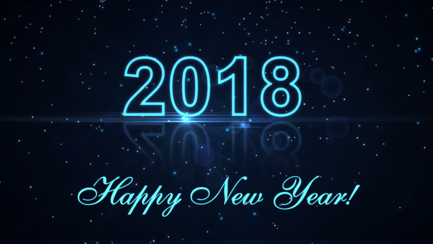Superb Happy New Year 2018 With Glowing Particles On The Dark Blue Background   HD  Stock Footage