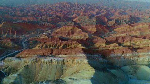 One of the most beautiful sections of Zhangye Danxia Rainbow Mountains showing striped pattern on sandstone hills. Part 2 of a 3 part series which can be merged to a continuous movie.
