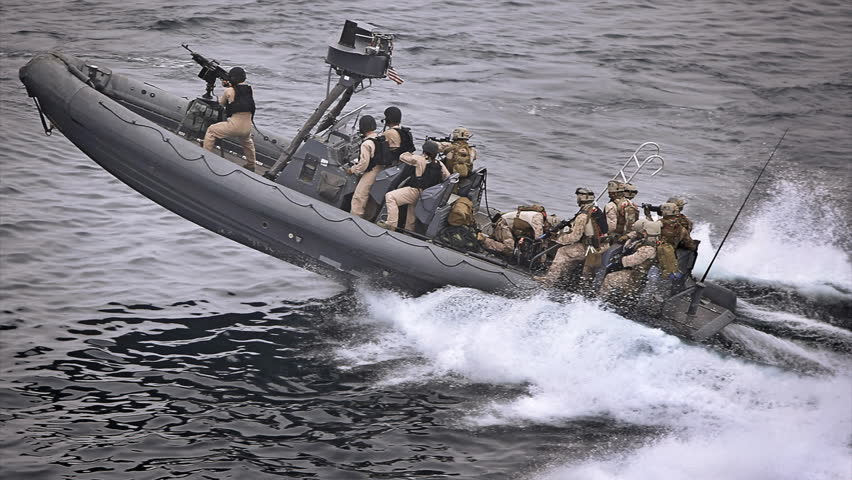 Special forces on ocean raft headed to combat Cinemagraph