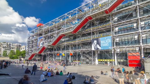 PARIS, FRANCE - CIRCA JULY 2017: Facade of the Centre of Georges Pompidou timelapse hyperlapse in Paris, France. The Centre of Georges Pompidou is one of the most famous museums of the modern art in