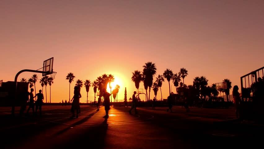 Sunset Beach 05 Basketball Silhouette Venice California