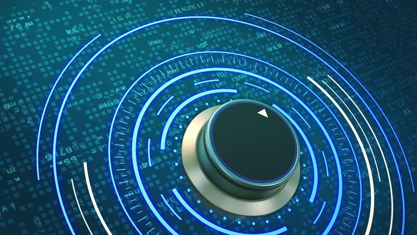 Futuristic hud with a rotating knob and random letters that form the word: solution (3d render) | Shutterstock HD Video #33673960