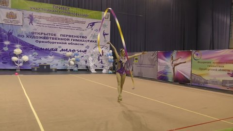 "Orenburg, Russia-November 25, 2017 year: girls compete in rhythmic gymnastics Ribbon routine on the Orenburg region Championship on rhythmic gymnastics ""Winter melody-2017""."